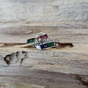 Rainbow Rhinestone Ring